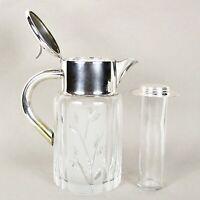 Brocca caraffa antica in cristallo e argento silver plated decanter per vino