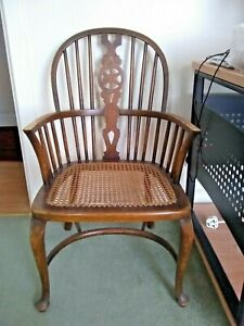 Antique Childs Wheel Back Windsor Chair with Bergere Seat & Crinoline Stretcher