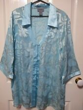 LADIES AQUA LACEY MATERIAL SHORT SLEEVED BLOUSE SIZE 24