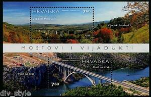 Bridges miniature sheet mnh 2015 Croatia #952 Modrus 1 Bridge, Krka River Bridge