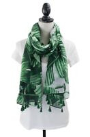 Styles I Love Womens Green Palm Leaves Cotton Scarf Shawl Wrap with Tassels