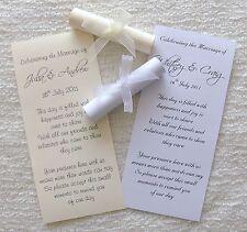 50 Personalizzata WEDDING FAVORI FAVOR scorre invito con nastro