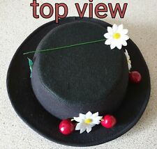 LADIES Mary Poppins inspired felt hat  approx 57cm & ribbon adjuster on inner