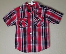 Fubu Jeans Baby Boy's 12 months Red Plaid Button Up Shirt