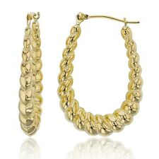 "1"" Oval Diamond Cut Milgrain Twisted Hoop Earrings Real 14K Yellow Gold"
