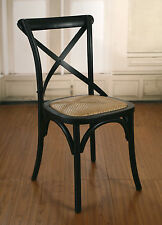 4 x Dining Chairs Cross Back French Provincial Birch Antique Black Cafe Style