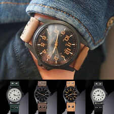 Men's Arabic Numerals Dial Faux Leather Sport Quartz Army Wrist Watch Eager
