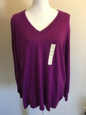 Studio Works Woman Dark Violet Long Slleve Thin V Neck Sweater Plus Size 2x Nwt