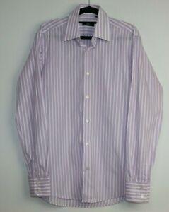 Hugo Boss Men's Long Sleeve Button Up Striped Purple White Shirt Size 38