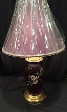Vintage Ruby Glass And Brass Lamp w HandPainted Flower on Front. New Shade Inclu