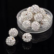 12 Stück Strassperlen Beads Perlen Shamballa weiß 10 mm (1211)