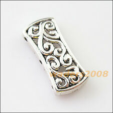 5 New Charm 3-3 Hole Flower Spacer Bar Beads Connectors 12x26.5mm Tibetan Silver
