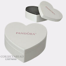 Authentic Pandora White Heart Earring & Necklace Travel Box *NO JEWELRY INCL*