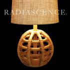 RAYMOR ATOMIC MODERN RATTAN GLOBE SPHERE SCULPTURE TABLE LAMP 1950'S PAUL Frankl