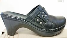 Nurture Smoke Black Leather Slip On Clogs Mules Ladies Shoes size 9.5 NICE