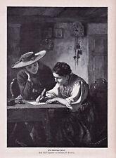 Schweiz, Tracht, Zwei Frauen in Landestracht. Stich, Holzstich n. Vautier 1882