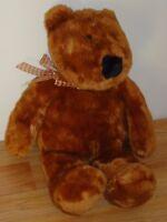 """Animal Alley BROWN TEDDY BEAR w/plaid bow 21"""" stuffed plush"""