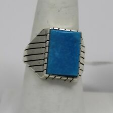 Navajo Indian Ring Kingman Turquoise Size 10 Sterling Silver Ray Jack