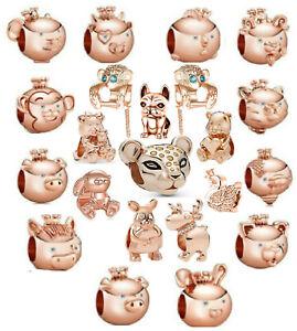 Crystal Monkey Leopard Rose Gold Charms DIY 925 Bracelet Pendant Free Gift Bag