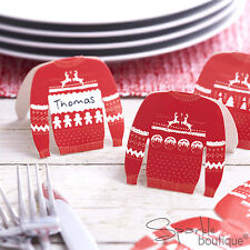 CHRISTMAS JUMPER PLACE NAME CARDS x 9 -Red & White Xmas Sweaters -RANGE IN SHOP