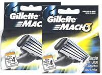 Gillette Mach 3 Mach3 8 Cartridges Refill Razor Blades Blade 2 Pack