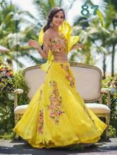 YELLOW Lehenga Choli Designer Wedding Wear Lengha Chunri Set Ghagra Ethnic Sari