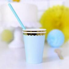 Pastel Blue and Gold Paper Party Cups - Pack of 6