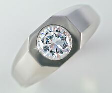 1 ct Men's Deco Style Ring Top Vintage CZ Imitation Moissanite Simulant 14 kt