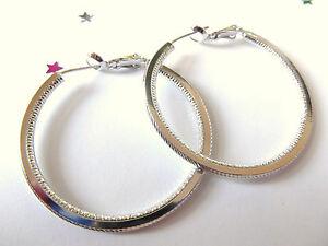 GOOD  QUALITY Ladies 9ct White Gold Plate Hoop Earrings