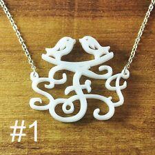 Personalized monogram Necklace, Initials bird Necklace, Acrylic Monogram jewelry
