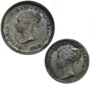 1884 PART MAUNDY SET (2d, 1d) - VICTORIA BRITISH SILVER COINS - SUPERB