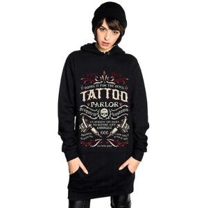Dragstrip Kustom Women Long Sleeve Hoody Dress Devils Tattoo Parlour 666 print