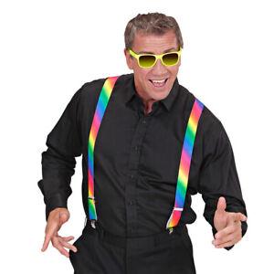 Bunte Regenbogen-Hosenträger - Neon Rainbow Bundhalter Multicolor Hosen-Halter