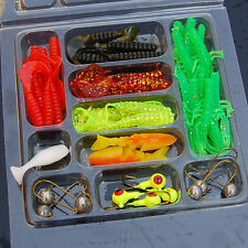 35Pcs Soft Worm Fishing Baits + 10 Lead Jig Head Hooks Simulation Lures Tackle