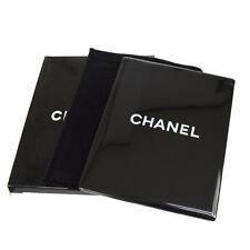 100% Auth CHANEL Vintage CC Logos Novelty Compact Hand Mirror Black Box V13846