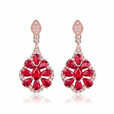 18k rose gold filled Garnet white Simulated Diamond wedding Chandelier earring