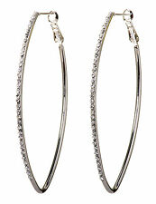 Swarovski Elements Crystal Oval Fantastic Hoop Pierced Earrings Rhodium 7229y