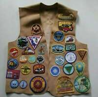 Vintage Indian Guides Suede Leather Vest Lots Of Patches Ottawa YMCA Camp 1970's