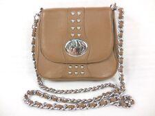BODHI Women's Handbag Pebbled Leather Taupe Studded Cross Body Detachable Strap