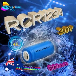 4X RCR123A Rechargeable 3.0V 600mAh Lithium Li-ion Batteries