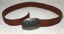 """1994 Floral Metal Belt Buckle + Embossed Genuine Leather Belt Size S 36"""""""