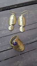 Of Earrings & Ring With Amethyst Mexican Artisan Handmade Brass & Copper Set