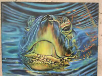 Original Acrylic Painting Sea Turtle  11X14 Stretched Canvas Marine Life Art