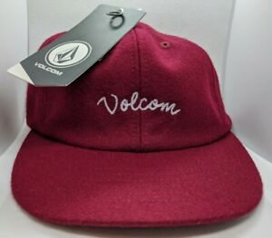 Volcom Wooly Hat Strapback Adjustable Cap Embroidered Logo Port Red - New Tags