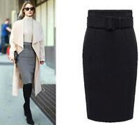 Women's Ladies Winter Warm Office OL Cotton Blend Thicken Skirt Belt Sexy Dress