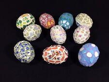 Lot of 10 - Homemade Decorative Eggs Plaster of Paris w/Art Glass Mosaic Pattern