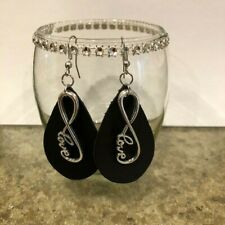 Genuine Brown Leather Teardrop Dangle Earrings with Infinity Love Charm.Handmade