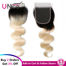 Brazilian Body Wave 1B613 Virgin Hair Lace Closure 4x4 Free Part 100% Human Hair