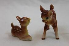 Vintage Japan Ceramic Porcelain Big Eye Deer Salt Pepper Shaker Set Fawn Bambi