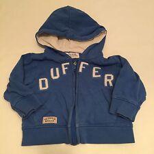 Duffer Blue Zip Up Hoodie Jumper Top Baby Boys 3-6 Month